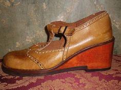 Vintage 70s Mary Jane Wooden Platform Wedge BLOGGER 8 5 Heel T Strap | eBay