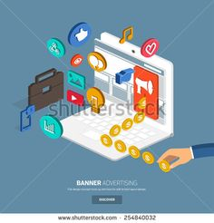 Banner advertising for marketing.Flat design concept for make momey with banner on website.3d isometric vector.