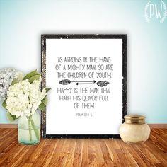 Nursery Bible Verse Print, Scripture art, Christian wall decor poster, quiver arrow Inspirational - Psalm 127:4-5 digital via Etsy
