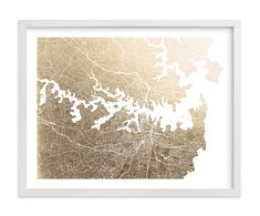 """Sydney Map"" - Foil-pressed Art Print by Alex Elko Design in beautiful frame options and a variety of sizes."