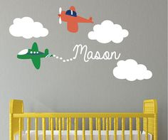 Airplane Wall Decals, Wall Decals Nursery, Kids Wall Decals, Nursery Wall Decals