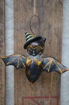 Halloween Hanging Bat Ornament Paperclay by apinchofprim on Etsy, $35.00