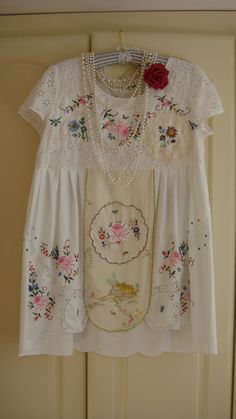 RESERVED Vintage Upcycled Tablecloth Embroidered Peasant Market Rustic Country Style Tunic Babydoll Top Whites Creams