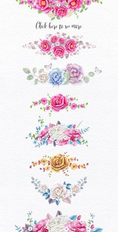 Wreaths and Bouquets collection by Eva-Katerina on Watercolor Flowers, Watercolor Paintings, Watercolor Ideas, Molduras Vintage, Decoupage Paper, Floral Border, Flower Backgrounds, Art Drawings, Clip Art