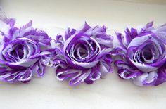 "Purple & White Chevron 2.5"" Shabby Chiffon Flower Rose - flower by the yard trim rose (Sold by the yard) hair accessories DIY Headband"