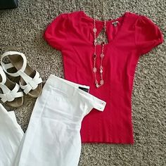 Short Sleeve Top (Fits like Small) Hot Pink Baby Doll Top with back peep hole Charlotte Russe Tops Tees - Short Sleeve