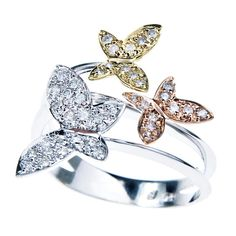 Vintage Three-Gold & Diamond Butterfly Ring  #butterfly #kelebek #fly #papillon #Schmetterling #mariposa #farfalla