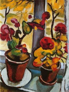 Blumen am Fenster (Flowers at the Window) August Macke a leading member of the German Expressionist group Der Blaue Reiter (The Blue Rider). August Macke, Franz Marc, Wassily Kandinsky, Henri Matisse, Cavalier Bleu, Maurice De Vlaminck, Blue Rider, Poster Prints, Art Prints