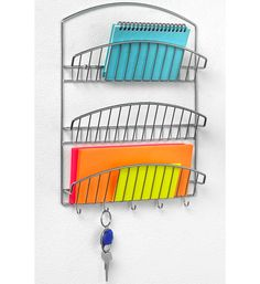The Chrome Mail Organizer and Key Rack is an easy way to decorate your home and keep documents and keys organized.