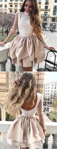 Sale Cute Long Sleeves Homecoming Dress Newest Lace Appliques Top Long Sleeves Backless Homecoming Dresses, Champagne Homecoming Dresses, Long Sleeve Homecoming Dresses, Hoco Dresses, Dresses With Sleeves, Long Sleeve Formal Dress, High Neck Dress, Ball Dresses, Simple Dresses, Pretty Dresses