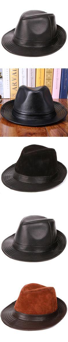 New Arrival Sheepskin Leather Hat Male Fashion Fedoras Genuine Leather Cap Adult Fashion Cowboy Hat 3 Colors  B-7242