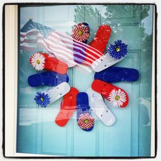 My 4th of July wreath.  http://amberbasom.wix.com/design#!Simple-4th-of-July-Decor-on-a-Budget/zoom/czpl/image1kay