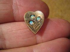 ███►alter ausgefallener Kettenschieber /Herz mit Opal - um 1900