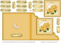Just Roses Cut and Fold Corner Card on Craftsuprint - Add To Basket!