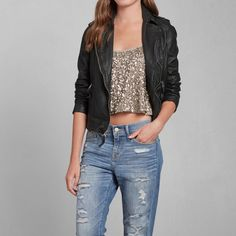 Womens Vegan Leather Jacket   Womens Clearance   Abercrombie.com