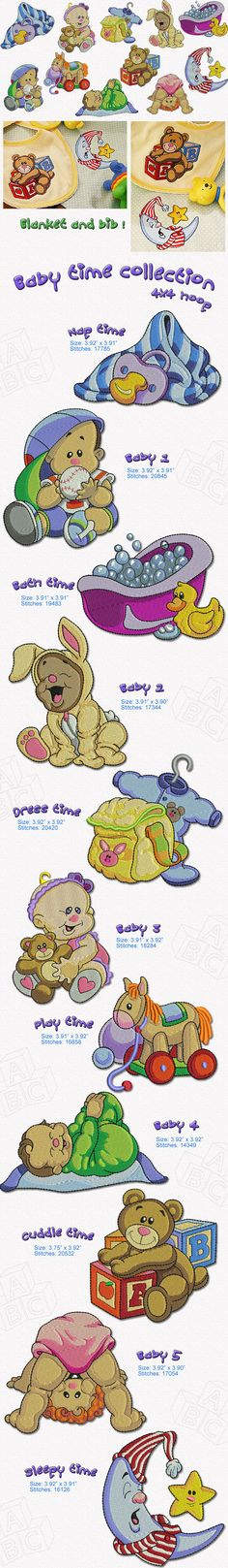 These 11 Baby Time Embroidery designs will be a great addition to your embroideries, great to do baby blankets, Baby bibs, diaper bags towels and much more.... Enjoy...