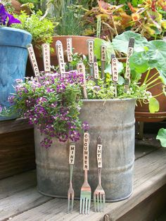 Herb Veggie Markers Made with Recycled silverware - Set of 6 - Over 30 Varieties Available on Etsy, $30.00