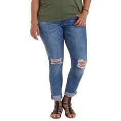"Charlotte Russe Plus Size Med Wash Denim Refuge ""Boyfriend"" Destroyed... ($40) ❤ liked on Polyvore featuring jeans, med wash denim, skinny jeans, ripped boyfriend jeans, plus size ripped jeans, skinny boyfriend jeans and blue skinny jeans"