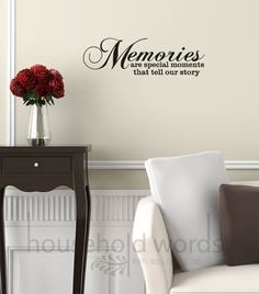 Vinyl wall word decal quote  Memories are by HouseHoldWords, $19.00