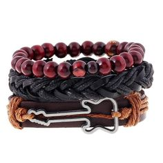 3-in-1 Leather & Beads Guitar Bracelet