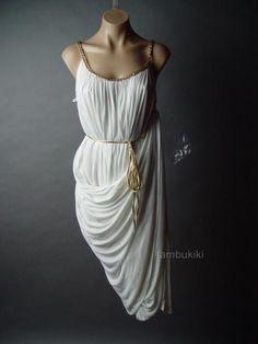 white gathered drape goddess dress with gold braided straps