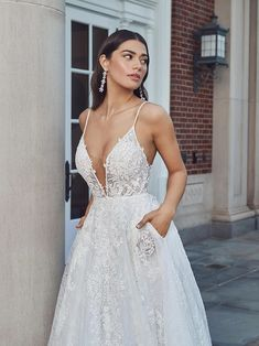 Cleo Sexy Wedding Dresses, Wedding Dress Shopping, Designer Wedding Dresses, Bridesmaid Dress Stores, Illusion Pictures, Nice Dresses, Formal Dresses, A Line Gown, Beaded Lace