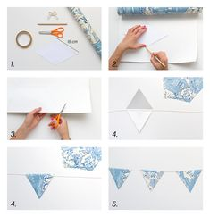 DIY with Photowall ! Create pennants with wallpaper for the children's room - all you need is your favorite cup, glue, scissors and thread. Kids Decor, Diy Home Decor, Room Decor, Diy Birthday, Birthday Gifts, Diy And Crafts, Crafts For Kids, Kidsroom, Barnrummet