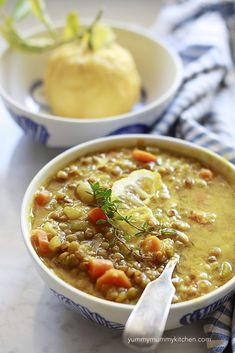 summery Lemon Lentil Soup Recipe. Our whole family LOVED this one and it's so nutritious. Turmeric is a great anti-inflammatory and lentils are packed with vegan protein and fiber.