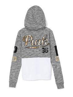 Bling Perfect Zip rebel hoodie from Victoria's Secret PINK Victoria Secret Outfits, Victoria Secret Rosa, Cute Sweaters, Cute Shirts, Pink Shirts, Pink Outfits, Cute Outfits, Vs Pink Outfit, Sweater Hoodie
