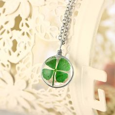 buy on wallmart.win 4 Style Silver Plated Vintage Lucky Clover Jewelry with Round Glass Dried Flower Clover Choker Long Pendant Necklace… Long Pendant Necklace, Green Necklace, Cheap Necklaces, Four Leaf Clover, Flower Pendant, Glass Pendants, Fashion Necklace, Chokers, Diy