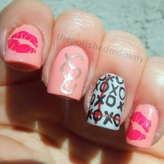 The Polished Mommy: Hugs and Kisses. Valentine Theme, Valentines, Kiss Nails, Holiday Nail Art, Hair And Nails, Glitter, My Love, My Style, Hugs