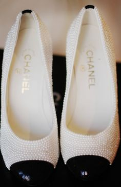 Chanel cap toe ballet flats with little pearls