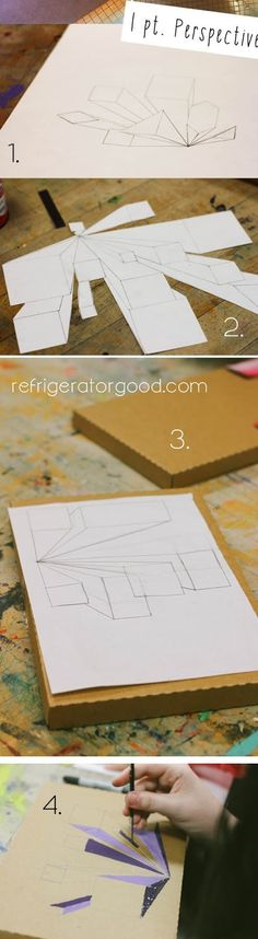 Artists will create a mixed media collage  that contains forms in one point perspective.   Students may use cardboard, paint, newspaper, co...
