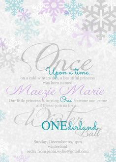 Winter ONEderland, teal and purple snowflakes
