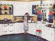 1938 kitchen - housewife in situ. Art Deco Kitchen, Kitchen Design, Kitchen Decor, Kitchen Ideas, 10x10 Kitchen, Kitchen Small, Kitchen Dishes, Kitchen Photos, Kitchen Layout