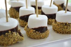 Cute idea for a finger food! S'mores on a stick - melt chocolate chips in some heavy cream, dip in graham cracker crumbs