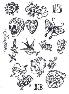 Tattoo Flash Art Tattoo friday the tattoos Flash Art Tattoos, 13 Tattoos, Tattoo Flash Sheet, Kunst Tattoos, Large Tattoos, Tattoo Small, Flower Tattoos, Tattoo Sketches, Tattoo Drawings