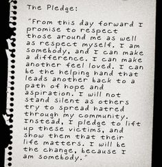 Stand for the Silent pledge.    I spent quite a bit of time reading on this topic this morning. If you have a chance take a few moments to skim through the websites. Change starts with individuals like you and I. May we all speak out for those who cannot speak for themselves.    http://www.thebullyproject.com/    http://www.standforthesilent.org/