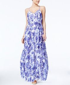Floral-Print Pleated Maxi Dress