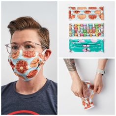 Sewing face mask - in just a few steps from classic cotton fabric Instructions: Sew a mask Pocket Pattern, Free Pattern, Diy Face Mask, Spoonflower, Most Beautiful Pictures, Diy And Crafts, Cotton Fabric, Sewing, Diy Tutorial