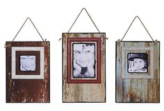 Distressed Hanging Frames, Asst. of 3 on OneKingsLane.com $50 ... I say pallets or other boards, old frames or twine for trim, coffee and paint