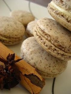 chai spiced macarons with a creamy vanilla italian buttercream filling