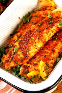 Blackened Tilapia starts with an easy homemade blackened seasoning mix. This blackened fish recipe is on the table in under 10 minutes making it the perfect weeknight meal! Asian Fish Recipes, Recipes With Fish Sauce, Whole30 Fish Recipes, White Fish Recipes, Easy Fish Recipes, Easy Meals, Best Tilapia Recipe, Salmon Fish Recipe, Blackened Fish Recipe