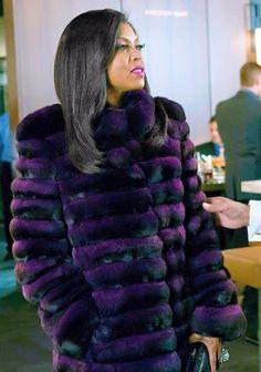 Cookie Lyons looking every bit of fierce in this purple and black fur Coat!
