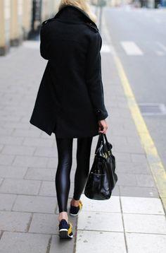 Black coat leggings handbag trainers. Street fall clothing women apparel @roressclothes closet ideas style ladies outfit fashion