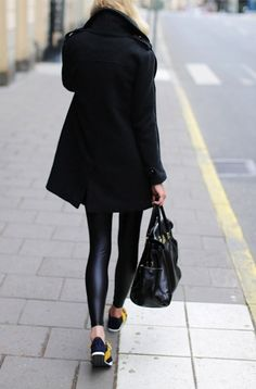 Black coat leggings handbag trainers. Street fall clothing women apparel @roressclothes closet ideas style ladies outfit fashion