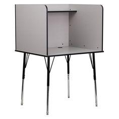 Flash Furniture Study Carrel with Adjustable Legs - MT-M6221-GREY-GG