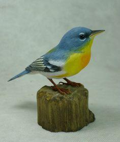 Northern Parula Original Bird Wood Carving