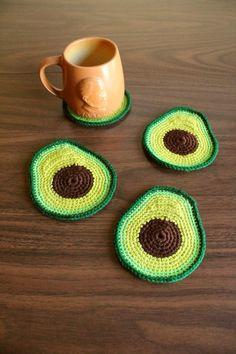 # crochet projects for the home Avocado Coaster Set - Made to Order Crochet Home, Knit Or Crochet, Crochet Crafts, Diy Crafts, Easy Crochet, Crochet Fruit, Doilies Crochet, Crochet Kitchen, Crochet Beanie