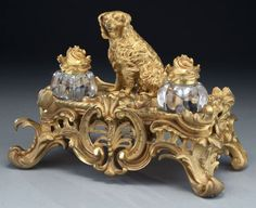 French gilt bronze Louis XV style dog inkwell : Lot 233